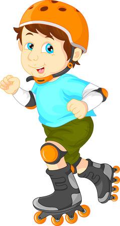 niño en patines: muchacho feliz el patín de ruedas