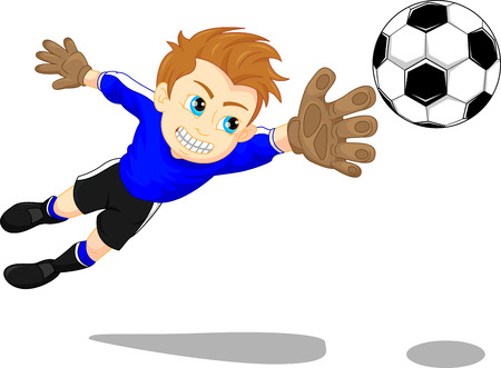 Soccer football goal keeper saving a goal Ilustrace