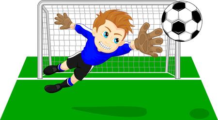 Fútbol Meta del fútbol guardar un encargado de la meta Foto de archivo - 58198822