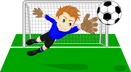 Portero de fútbol soccer guardando un gol Foto de archivo - 58198822