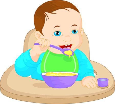 baby food: Baby boy eating baby food Illustration
