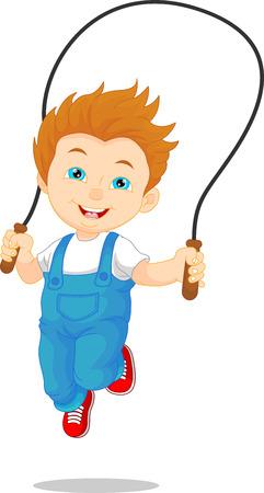 sweaty: Little boy playing skipping rope