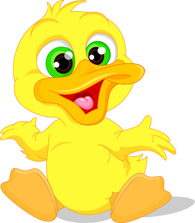 Cute baby duck cartoon Vettoriali