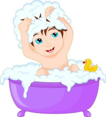 boy bath: Cute cartoon boy having bath