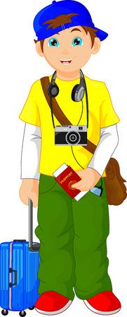 cartoon child: tourist boy cartoon Illustration
