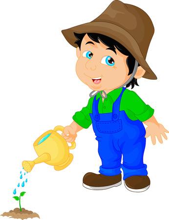 cute boy watering a plant