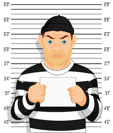 ruffian: Criminal photo Caught criminal stands beside wall with number in hand Illustration