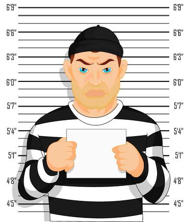 photo pénale Caught peuplements criminels à côté de mur avec le numéro dans la main