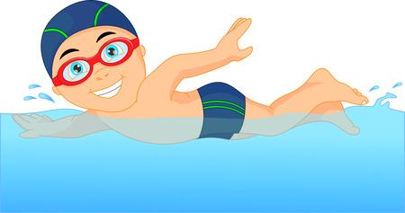 enfant maillot de bain: Cartoon petit garçon nageur dans la piscine