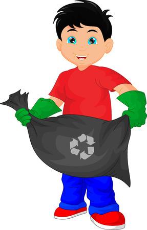 botar basura: niño lindo que sostiene una bolsa de basura