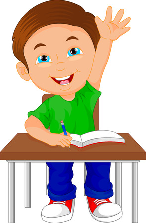 youthful: vector illustration of school boy sitting on table