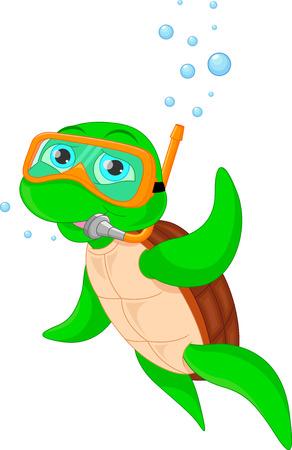 green cute: cute green turtle cartoon Illustration