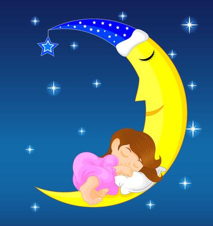 cute little girl sleeping on moon Illustration
