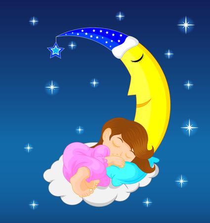 neonate: cute little girl sleeping on moon Illustration