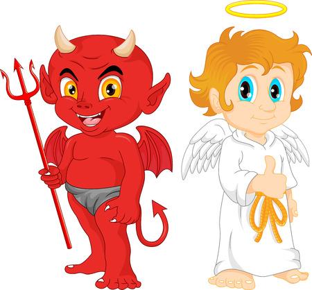 sneering: Cartoon little angel and devil