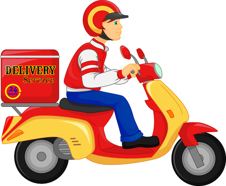 Delivery Boy Ride Scooter Motorcycle Service, Order, Worldwide Shipping, Fast and Free Transport Vettoriali