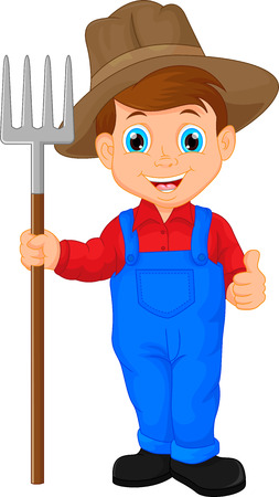 an agronomist: Cartoon young farmer holding rake