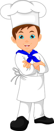 preparing food: boy chef cartoon Illustration