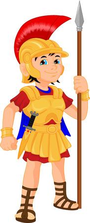 romana: niño con traje de soldado romano