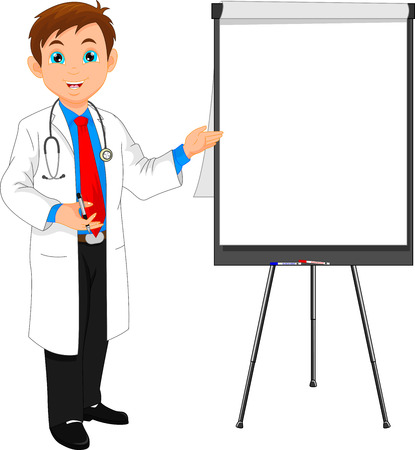 researches: young doctor and blank sign Illustration