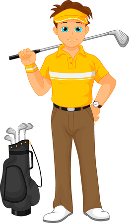 golf player: boy cartoon golf player