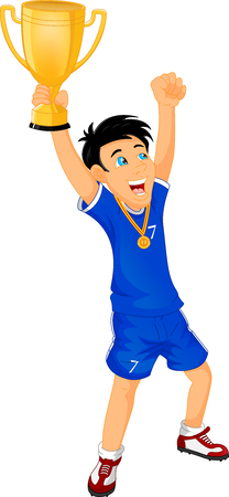 football fan: Happy Soccer champions with winners cup Illustration