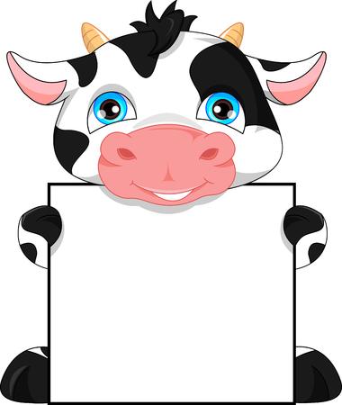 mignon bébé de bande dessinée de vache et signe blanc