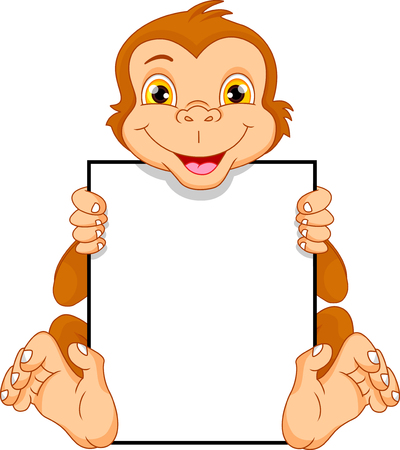 innocent: Cute monkey cartoon and blank sign