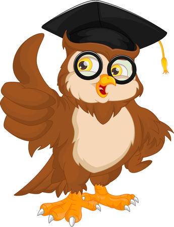 vector illustration of owl wearing graduation cap and thumb up