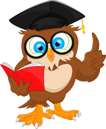 ejemplo del vector de búho que lleva el casquillo y el libro de lectura