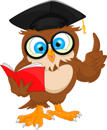 vector illustration of owl wearing graduation cap and reading book