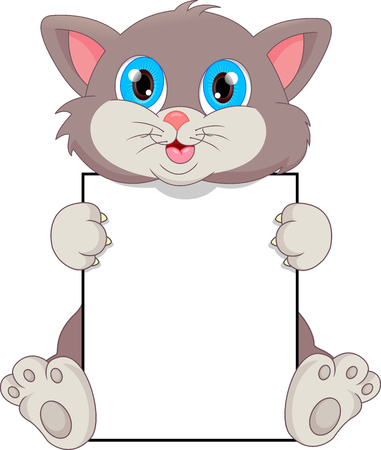 animal mouth: cute cat cartoon and blank sign