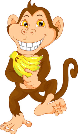 thumping: happy monkey cartoon with banana Illustration
