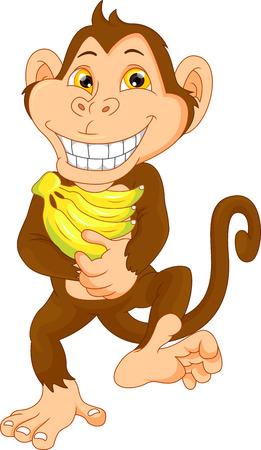 happy monkey cartoon with banana Illustration