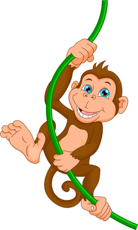 plant stand: happy monkey cartoon Illustration