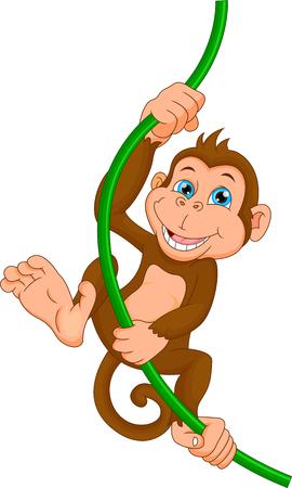 happy monkey cartoon Illustration