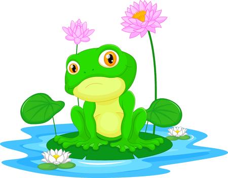 lily pad: Green frog sitting on a leaf Illustration