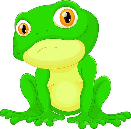 lily pad: Green frog sitting cartoon