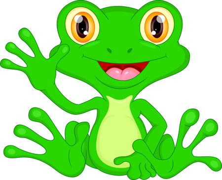 lily pad: Green frog cartoon waving