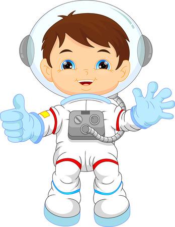漫画の小さな少年の身に着けている宇宙飛行士コスチューム  イラスト・ベクター素材