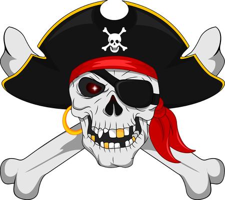 Pirate skull and crossed bones Vettoriali