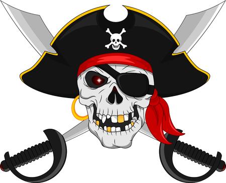 해적 두개골과 십자가 칼 일러스트