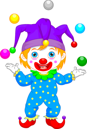 child laughing: Boy in clown costume cartoon Illustration