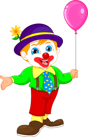 Boy in clown costume cartoon holding balloon