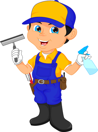 worker person: Boy janitor in a blue suit holding cleaning tools.