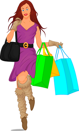 loafer: Cute girl with shopping bags