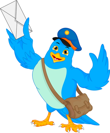 Cute bird holding a mail Illustration