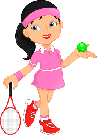 meisje tennis speler cartoon Stock Illustratie