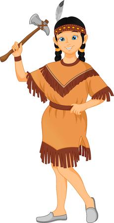 schattig klein meisje dragen native american indian tribes kostuum