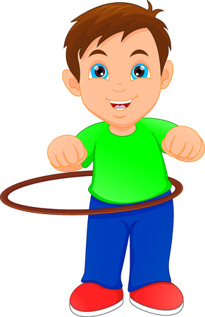 boy playing with Hula Hoop Illustration